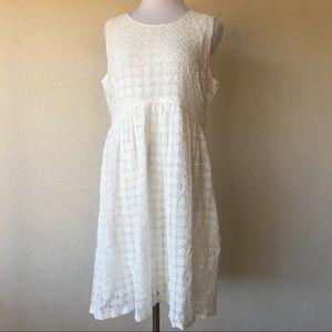 Zara Basic white eyelet sleeveless dress